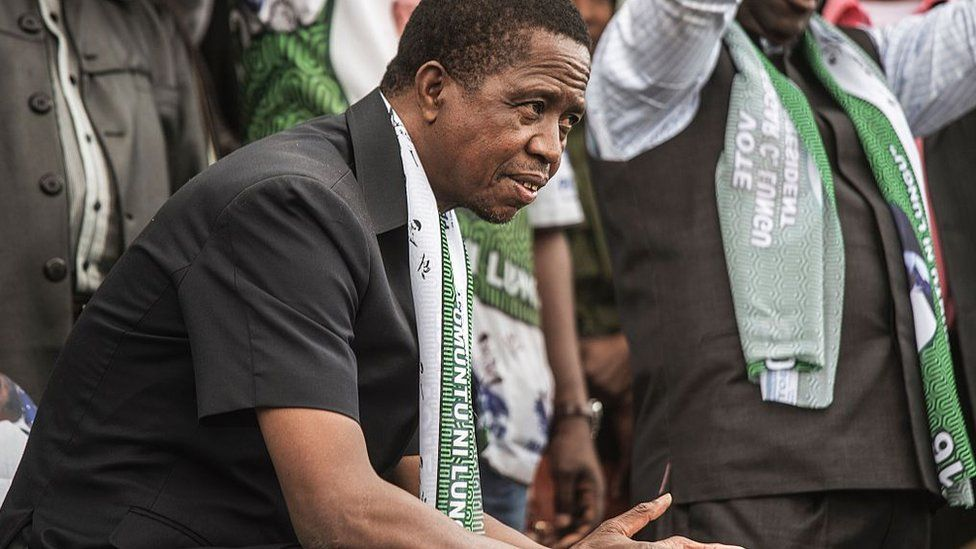 Zambian President Edgar Lungu looks on during his presidential campaign closing rally on August 10, 2016 in Lusaka.