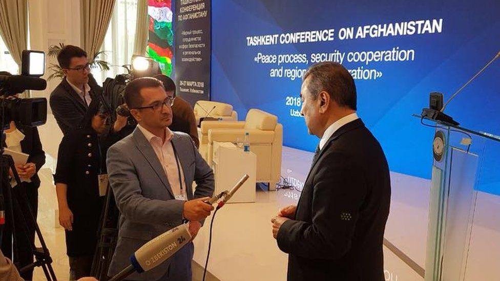 Sodyk Safoyev speaks to the BBC at the Tashkent Conference on Afghanistan in Tashkent, Uzbekistan