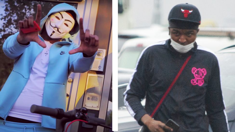 Left: a photo of Tankz in a blue tracksuit, right: a photo of a man in a black tracksuit that BBC Panorama believes may be Tankz