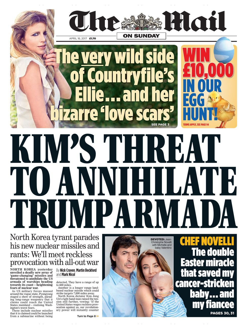 Mail on Sunday front page - 16/04/17