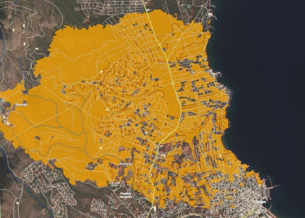 Copernicus image of destruction in the Mati and Rafina areas