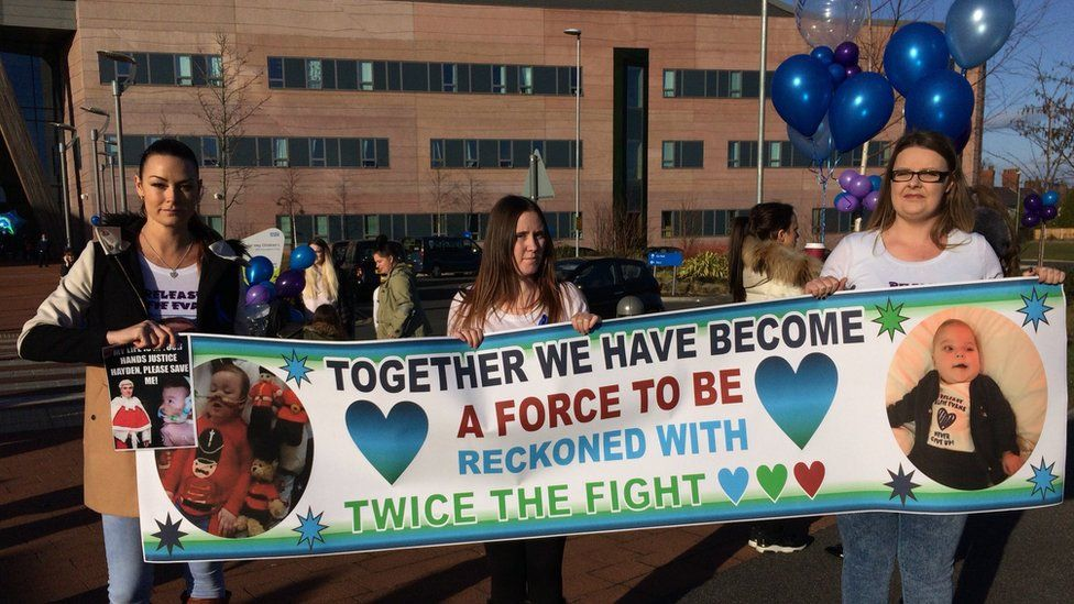 Supporters outside of Alder Hey Children's Hospital