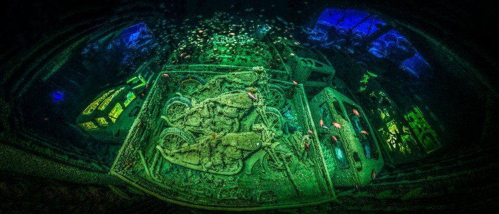 Motorcycles inside the SS Thistlegorm.