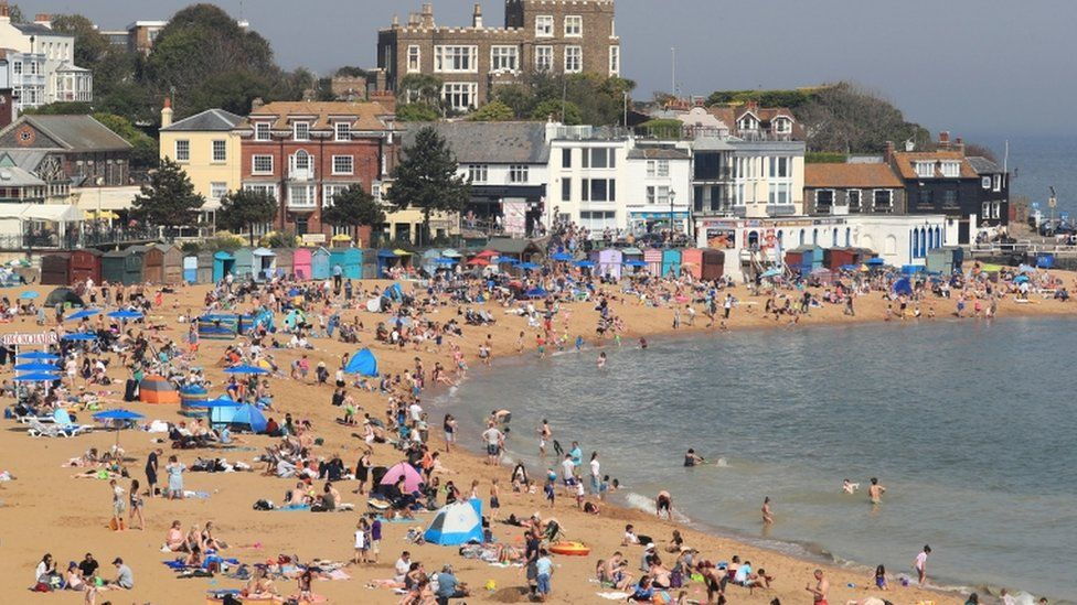 People on the beach in Broadstairs, Kent