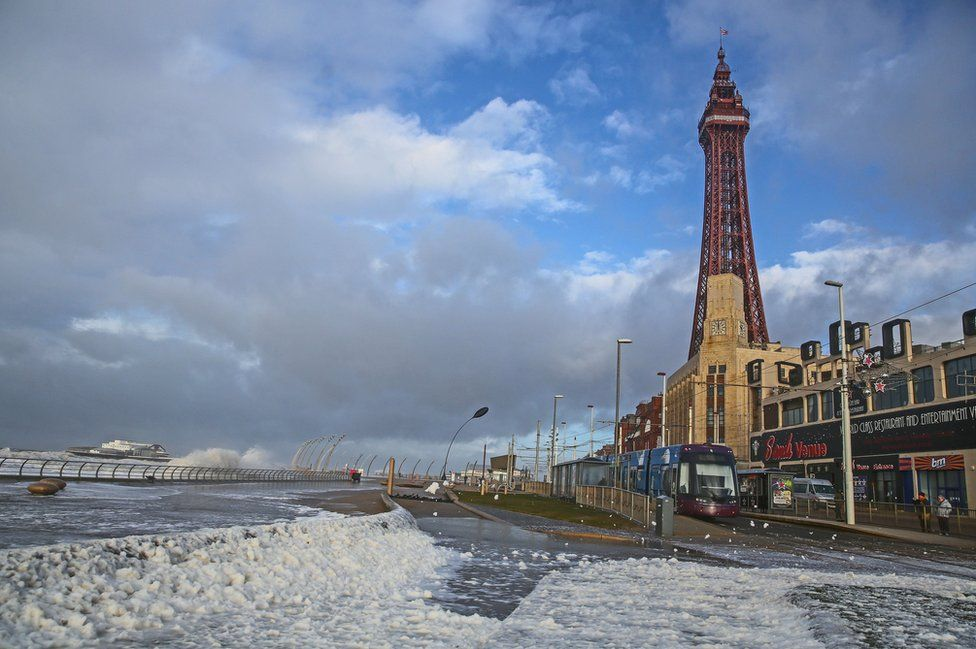 Blackpool Tower and seafront in January