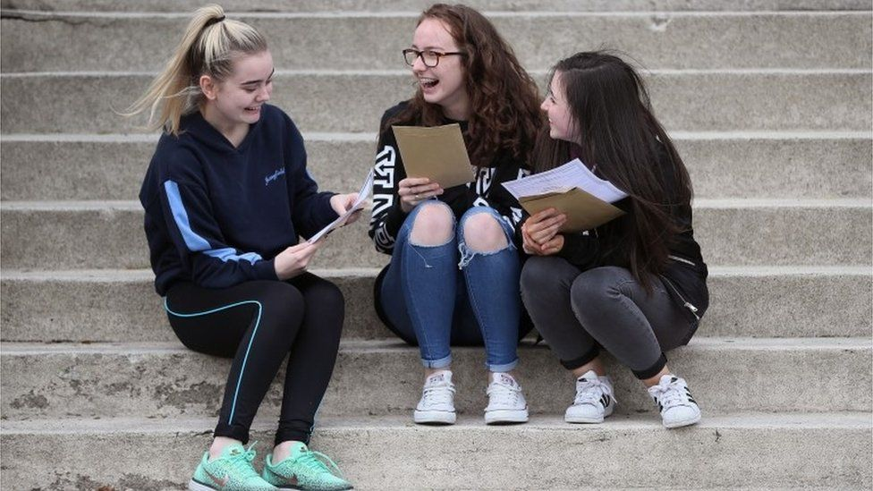Pupils getting their leaving certificate