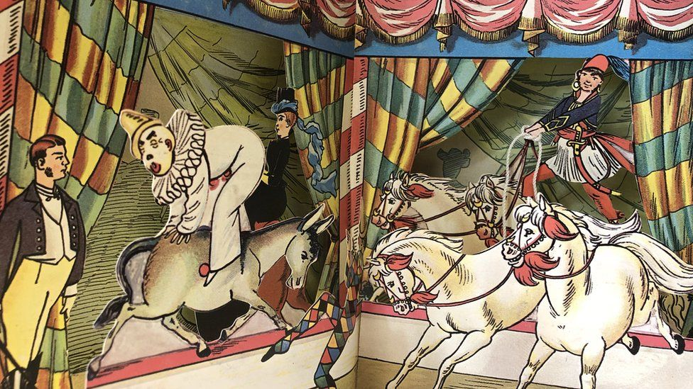 Victorian pop-up book of a circus