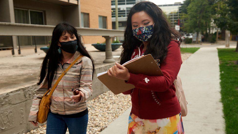 Leah Gazan on the campaign trail in Winnipeg