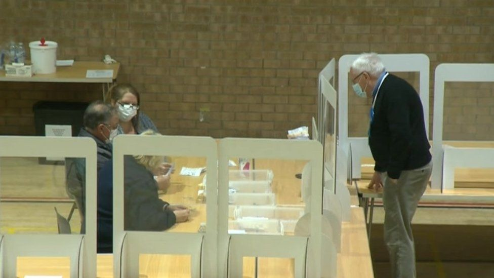 2021 elections count at the Ross Peer Sport Centre in Soham