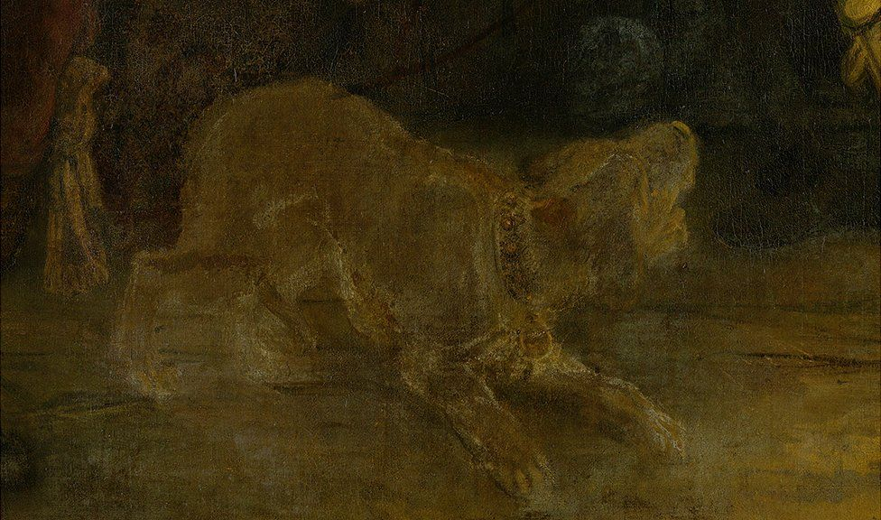 In the lower right corner you can see a dog barking, and the deterioration of the paint has given the dog a ghostlike appearance