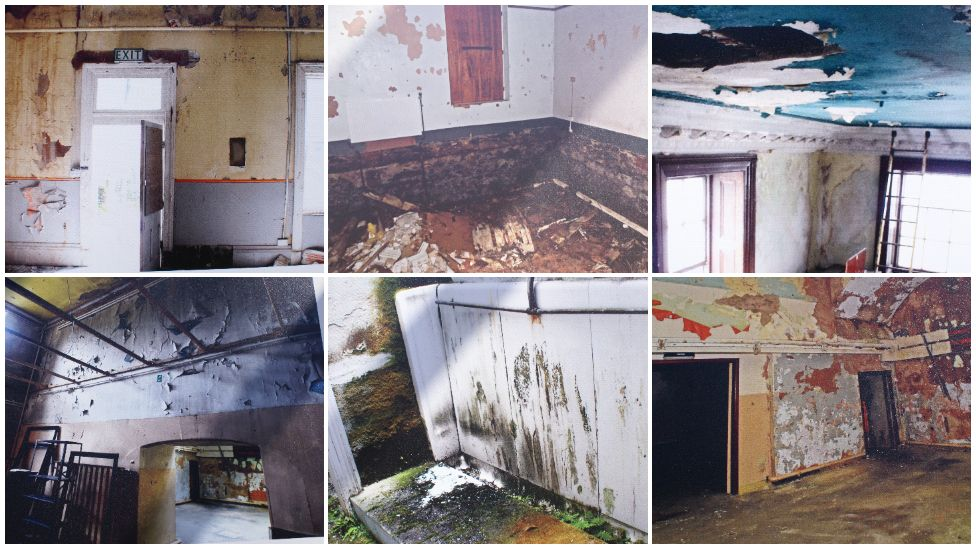 Derelict rooms at Plas Glynllifon before restoration began