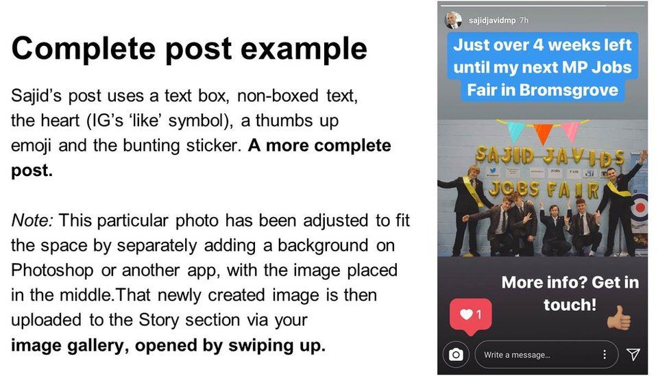 "Slide: ""complete post example"", picture of Sajid Javid story"