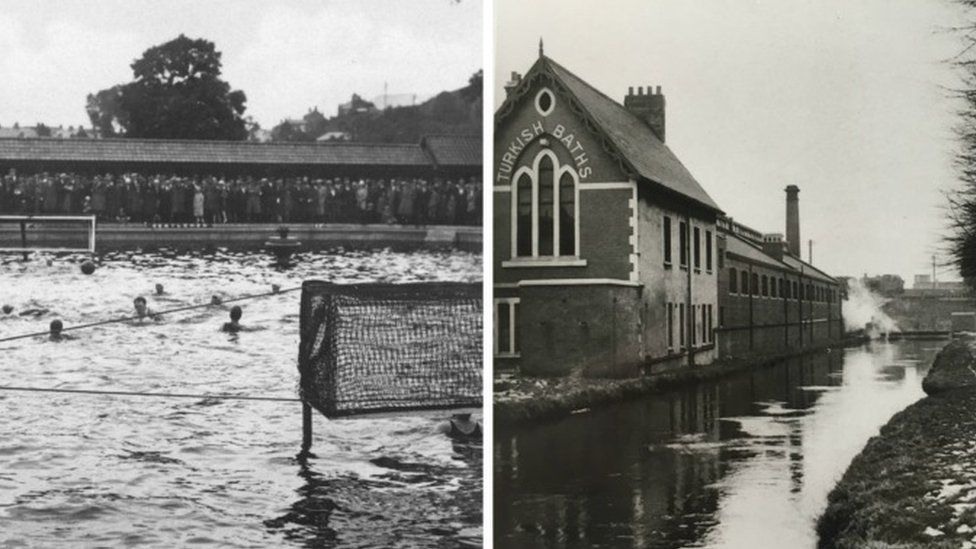 The old Pontypridd Lido and Cardiff's Guildford Crescent