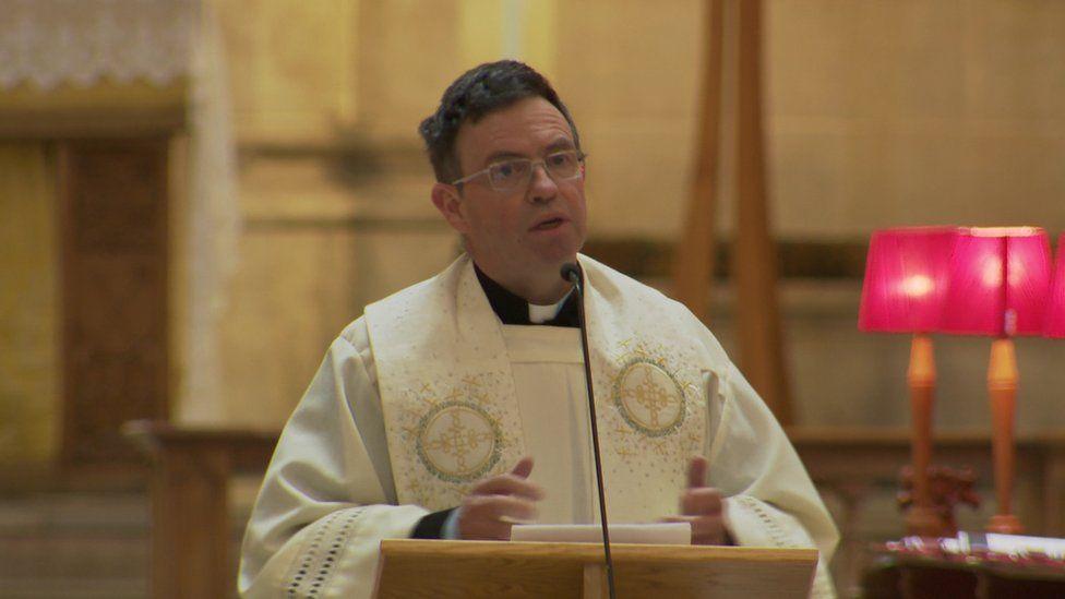 Fr Martin Magill at Lyra McKee's funeral in Belfast