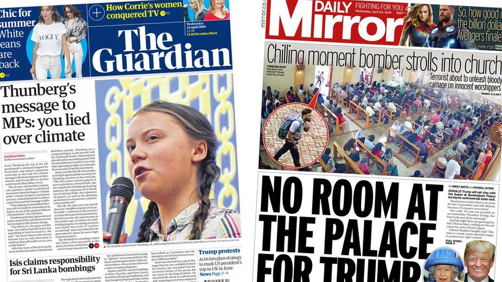 front page of the guardian and the daily mirror