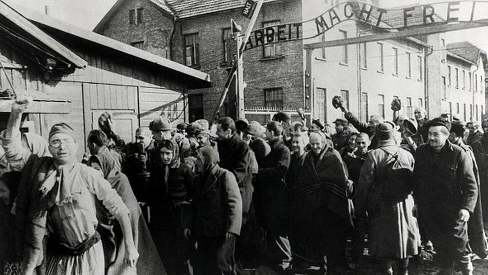 Survivors of Auschwitz leaving the camp at the end of World War II, Poland