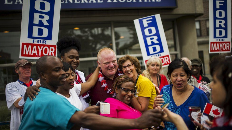 Rob Ford with supporters
