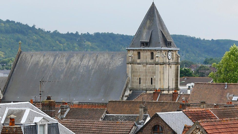General view of the church in St-Etienne-du-Rouvray on 26 July 2016