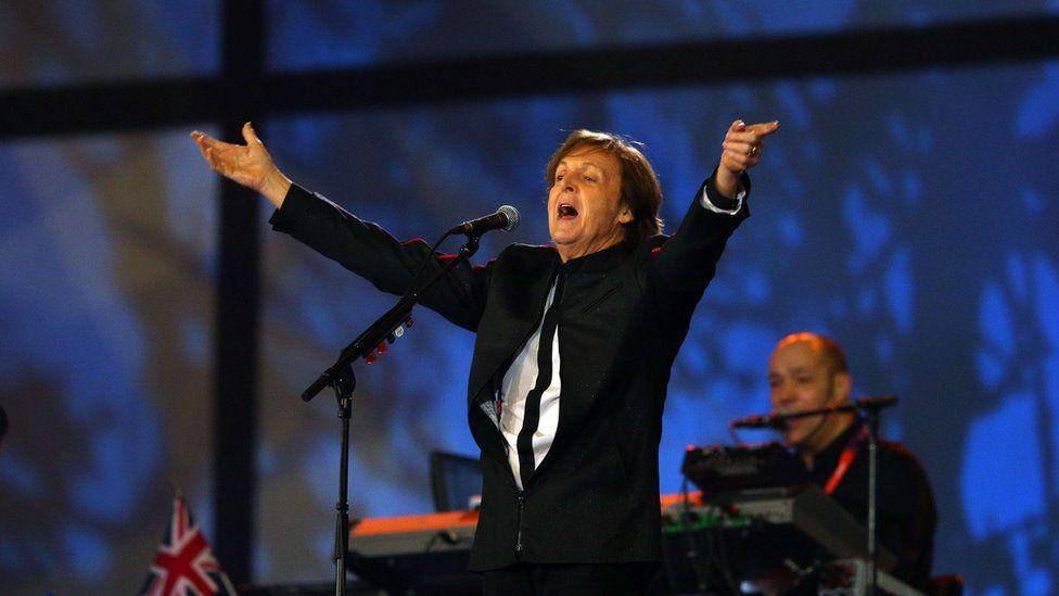 Paul McCartney onstage at London 2012
