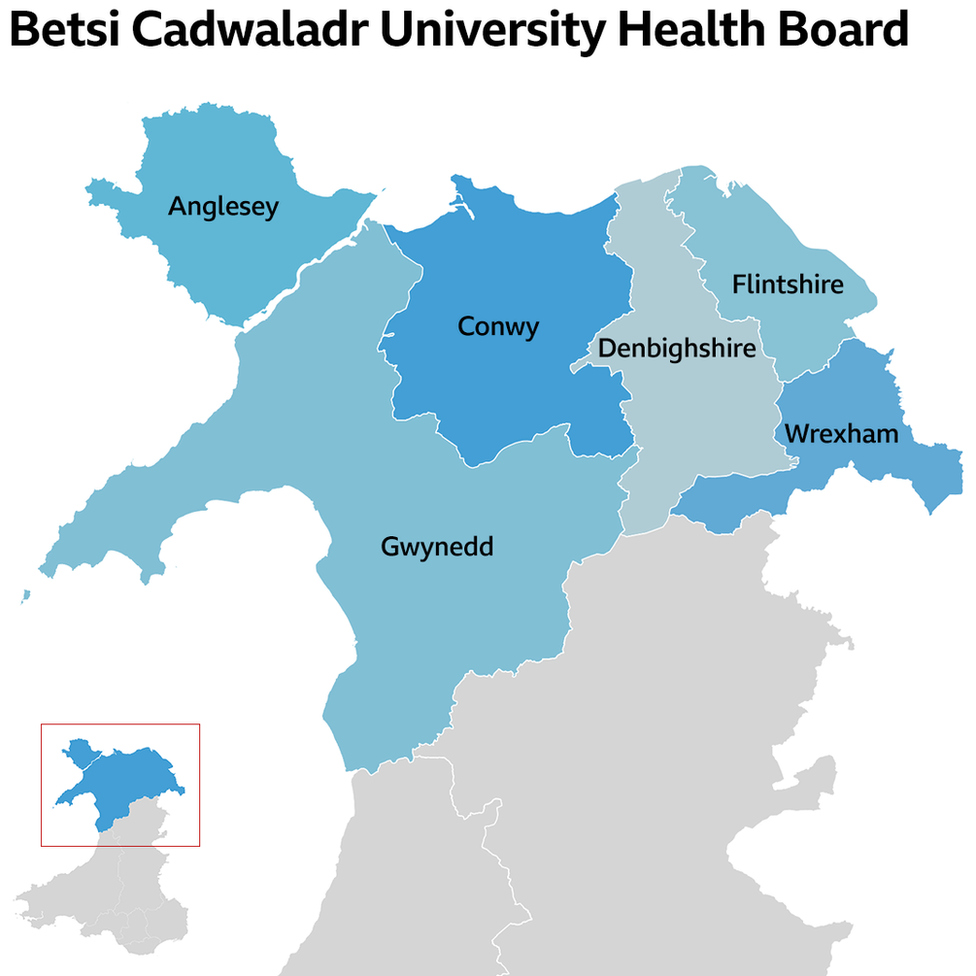 A map of Wales showing the area covered by Betsi Cadwaladr health board
