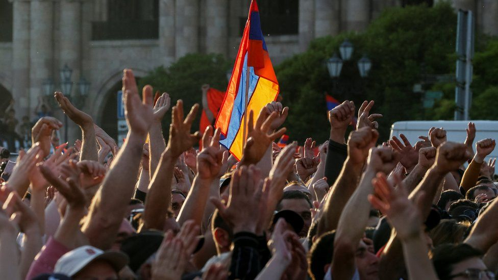 Armenian opposition supporters attend a rally in Republic Square in Yerevan, Armenia May 2, 2018