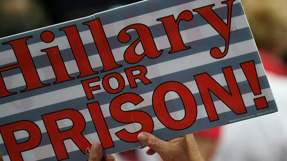 The crowd repeatedly chanted 'lock her up!'