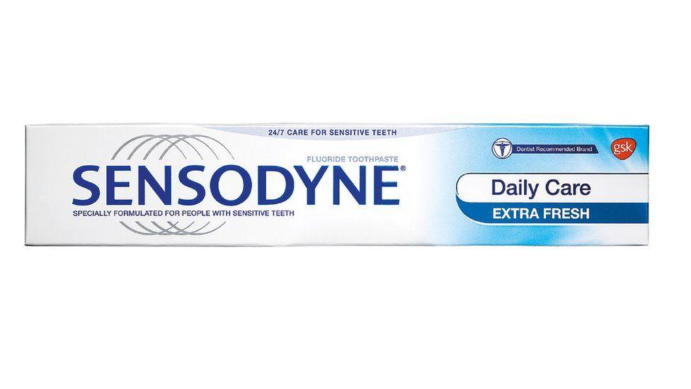 A tube of Sensodyne toothpaste