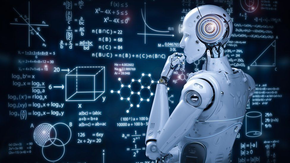 A robot analysing streams of mathematical equations