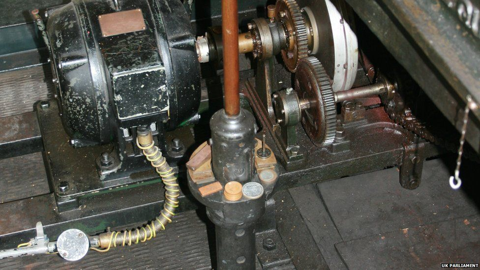 Coins used as weights to adjust the great Clock