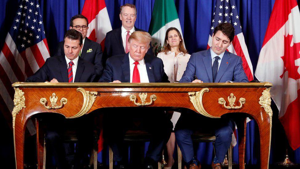 Mexico President Enrique Pena Nieto, US President Donald Trump, Canada's Prime Minister Justin Trudeau