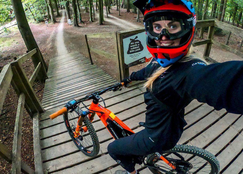 Kara Beal on an e-bike