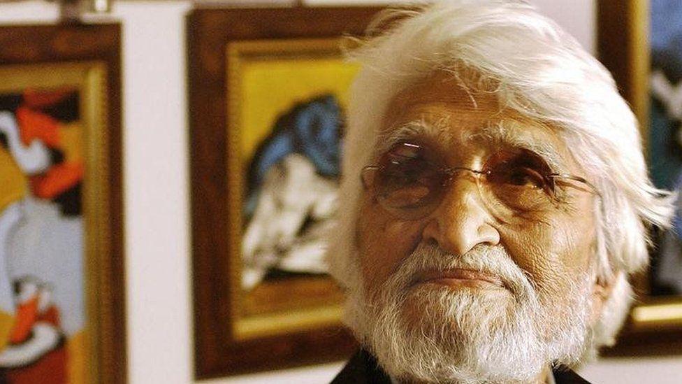 Indian artist Maqbool Fida (M.F) Husain