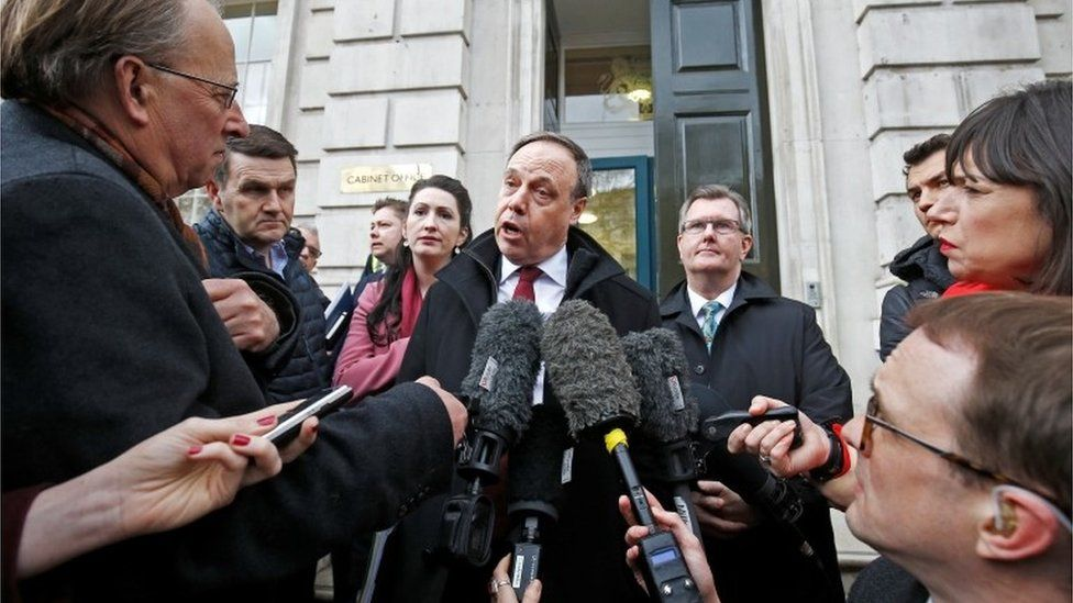 Nigel Dodds speaks to media