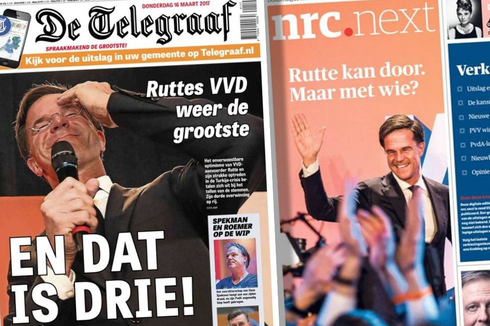 Front covers of Dutch newspapers De Telegraaf and NRC Next