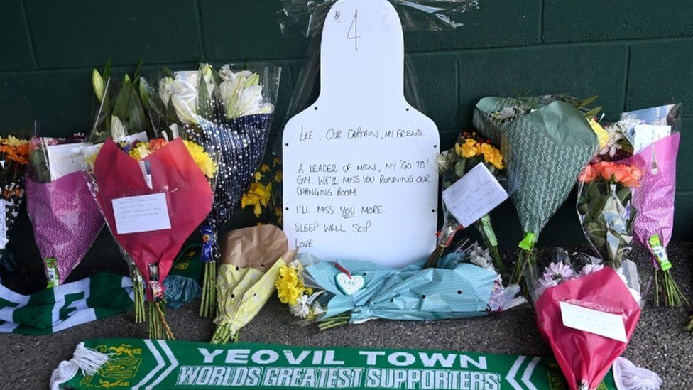 Tributes outside Huish Park