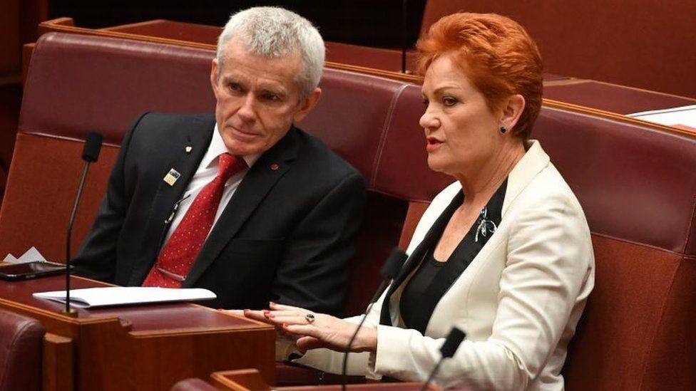 One Nation senators Pauline Hanson and Malcolm Roberts