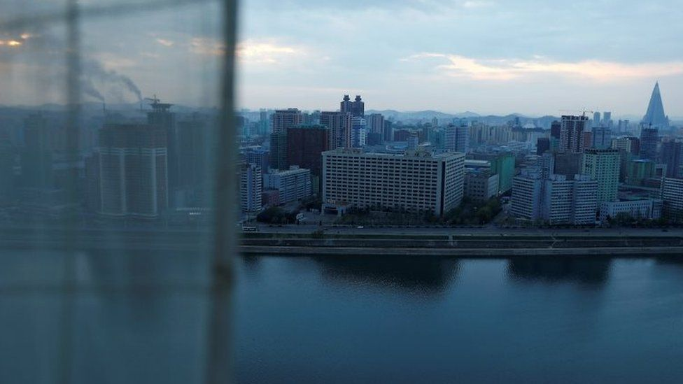The city centre and Taedong River are seen from a hotel room in Pyongyang, North Korea April 17, 2017.
