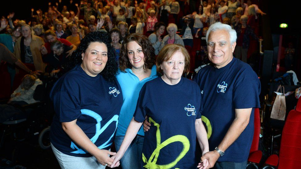 Dementia patient Shirley Lewis at a special screening of Mamma Mia in Cineworld in Newport