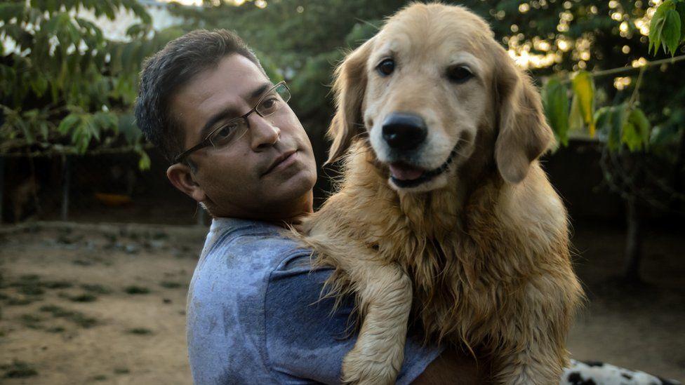 Rakesh Shukla with his first dog Kavya