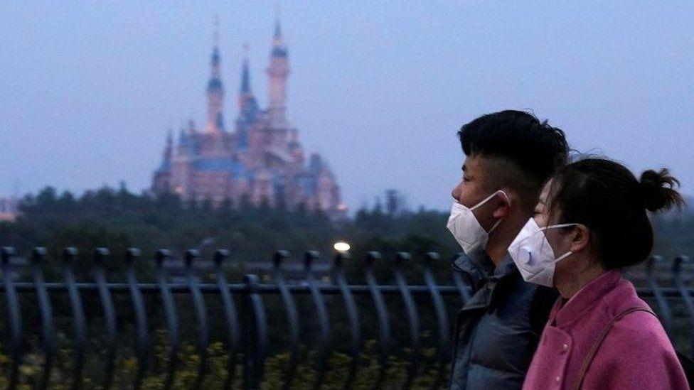 People walk past Shanghai Disney resort - 24 January