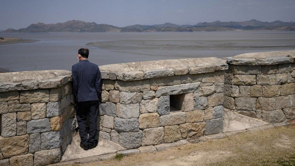 A visitor on Ganghwa Island looking out to the North in April