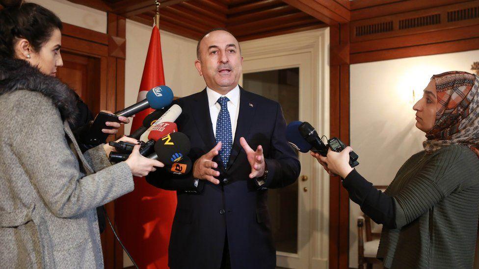 Mevlut Cavusoglu speaking to reporters, 3 Mar 17