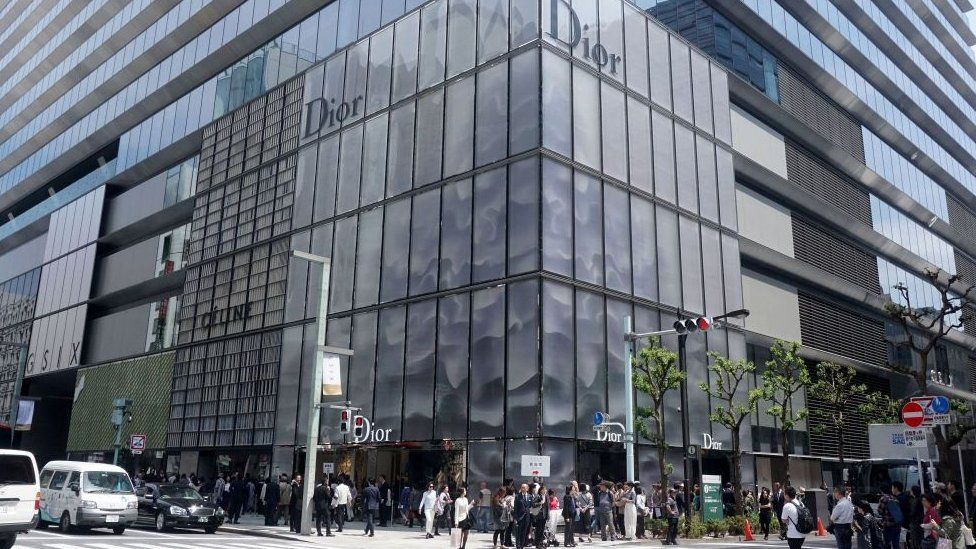 The exterior of French fashion brand Christian Dior's new shop is seen at the Ginza shopping district in Tokyo on April 20, 2017