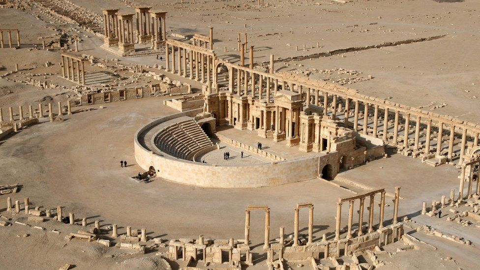 The columns and amphitheatre of the Roman Theatre, part of the ancient city of Palmyra in Syria, seen in 2009