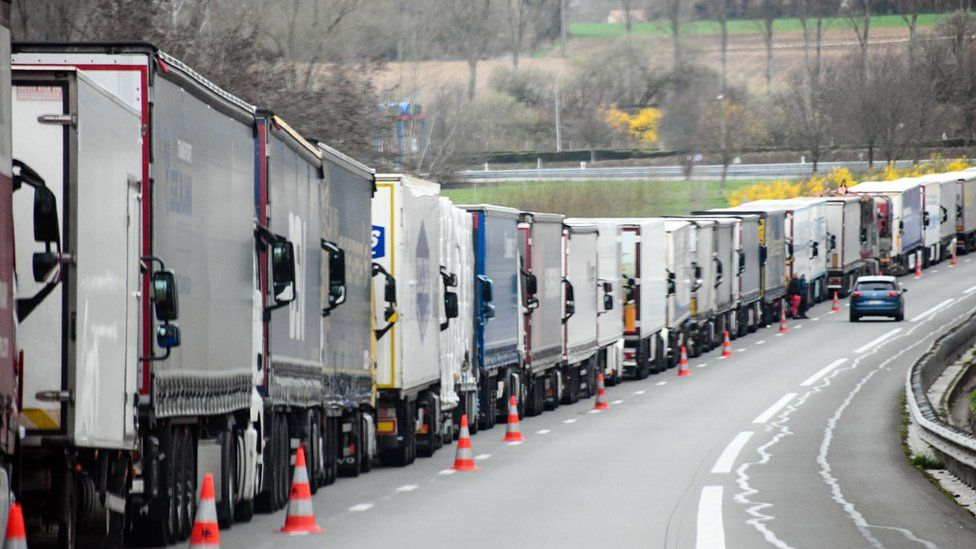Stopped trucks on the A26 highway trying to make their way to the Channel Tunnel, near Calais, northern France, on March 21, 2019