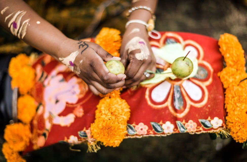A Hindu devotee places fruit to decorate her 'Kavadi' (symbolic burden) during the annual Hindu Thaipoosam Kavady festival held at Shree Emperumal Hindu Temple in Mount Edgecombe township, some 42 kms north of Durban on February 3, 2018.