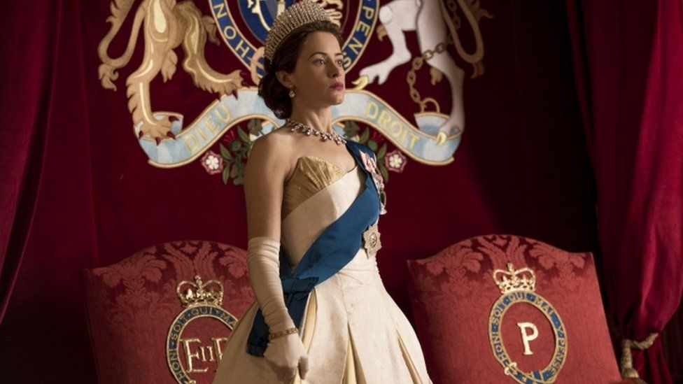 Actress Claire Foy playing Queen Elizabeth II in Netflix series The Crown