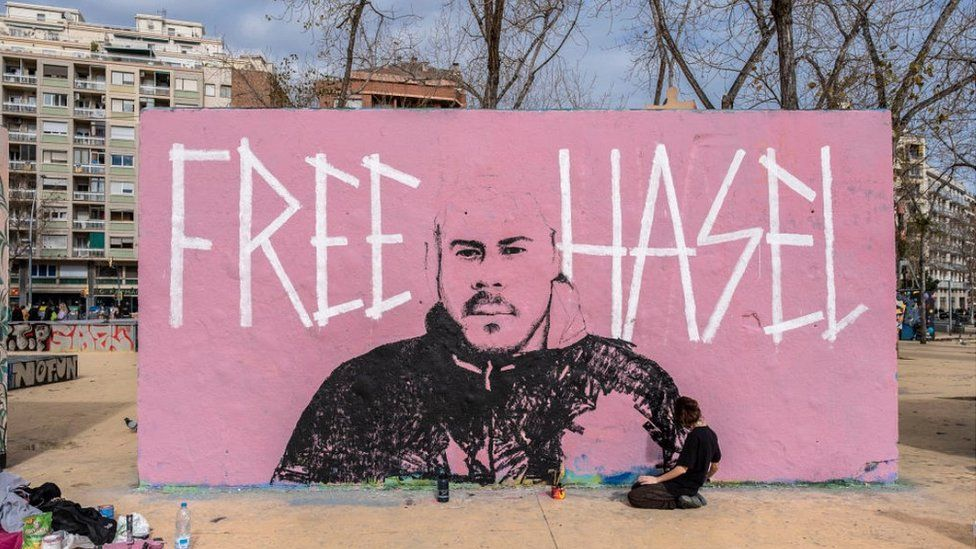 Pro-Hasel mural in Barcelona, 7 Feb 21