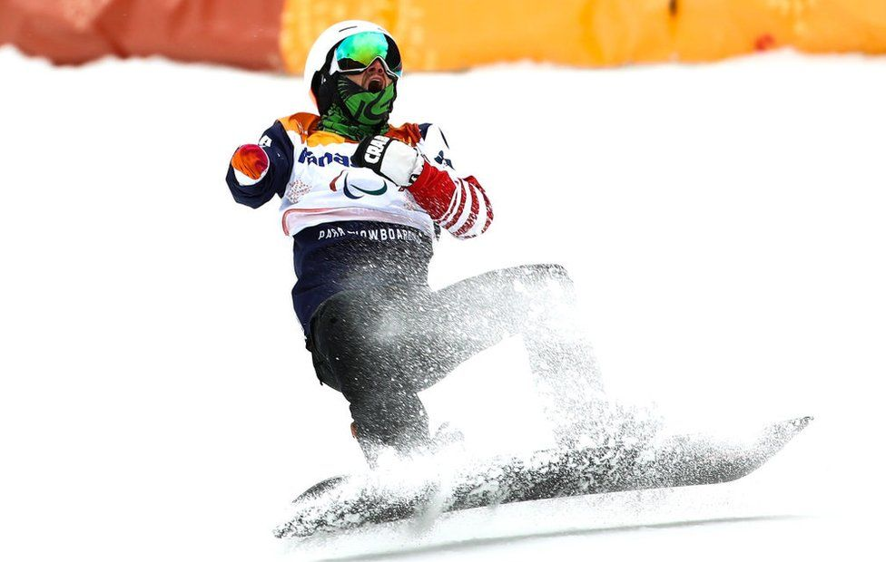 Mike Minor of the United States competes in the Men's Banked Slalom