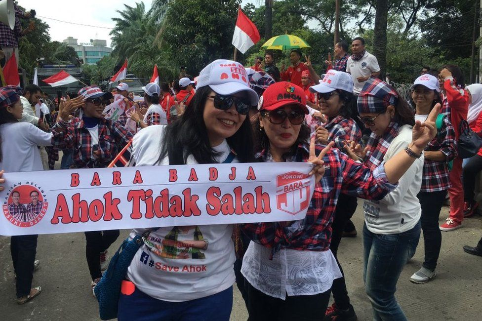 Supporters of Indonesian politician Ahok